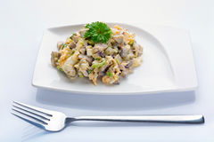 Eggs and mushrooms salad with leek and red onion Royalty Free Stock Photos