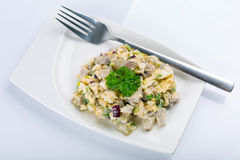 Eggs and mushrooms salad on the plate Royalty Free Stock Image