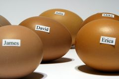 Eggs with names Royalty Free Stock Photos