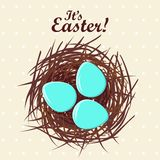 Eggs in nest. Vector illustration Stock Photos