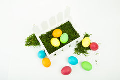 Eggs in the nest for Easter. Painted eggs in the nest for Easter Stock Images