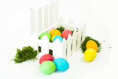 Eggs in the nest for Easter. Painted eggs in the nest for Easter Stock Photo