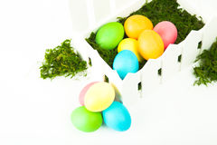 Eggs in the nest for Easter. Painted eggs in the nest for Easter Royalty Free Stock Photo