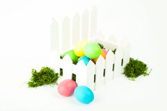 Eggs in the nest for Easter. Painted eggs in the nest for Easter Stock Photography