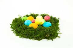 Eggs in the nest for Easter. Painted eggs in the nest for Easter Stock Photos