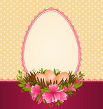 Eggs in nest with flowers and lace ornaments Royalty Free Stock Images