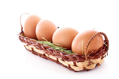 Eggs in nest isolated Royalty Free Stock Photography