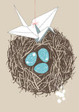 Eggs in Nest and Paper Crane Stock Photos