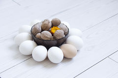 Eggs and nuts Royalty Free Stock Photography