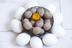 Eggs and nuts Stock Photos