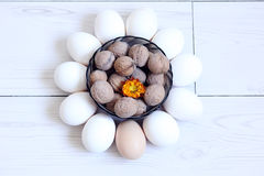 Eggs and nuts Stock Photo