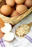 Eggs and oat flakes Royalty Free Stock Image