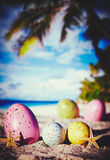 Eggs on ocean beach Royalty Free Stock Photo