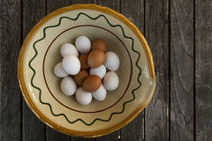 Eggs. In old bowl on wooden table Royalty Free Stock Photography