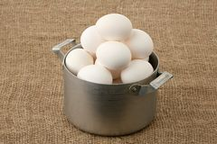 Eggs in an old pan Royalty Free Stock Photo