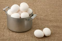 Eggs in an old pan Royalty Free Stock Images