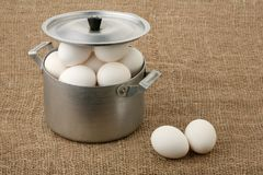 Eggs in an old pan Royalty Free Stock Image