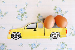 Eggs old vintage style. On car logistic Royalty Free Stock Photography