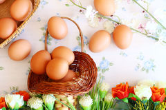 Eggs old vintage style. On retro background Royalty Free Stock Photography