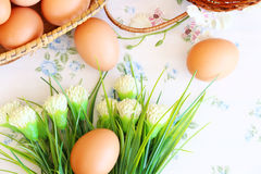 Eggs old vintage style. On retro background Stock Photography