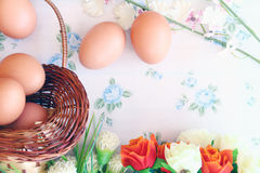 Eggs old vintage style. On retro background Stock Images