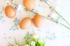 Eggs old vintage style. On retro background Royalty Free Stock Photo