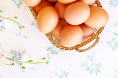 Eggs old vintage style. On retro background Stock Photo