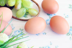 Eggs old vintage style. On retro background Royalty Free Stock Photos