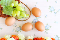 Eggs old vintage style. On retro background Royalty Free Stock Images