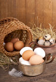 Eggs on old wooden Stock Photo
