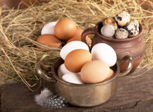 Eggs on old wooden background Royalty Free Stock Photo