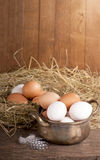 Eggs on old wooden background Stock Image