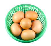 Eggs in one basket Stock Photo