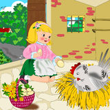 Eggs of organic farming. Illustration is a child who collects the eggs in a basket trimmed with flowers, as they are made from chicken; the image is designed to Royalty Free Illustration