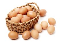 Eggs in and out of bamboo basket. Isolated on the white background Royalty Free Stock Photo
