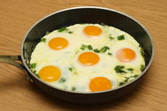 Eggs over easy on a pan Royalty Free Stock Images