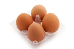 Eggs in pack Stock Photos