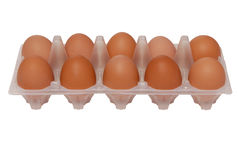 Eggs in package. Some eggs are in transparent package royalty free stock photo