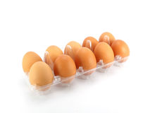 Eggs packed. Isolated on white background Royalty Free Stock Photo