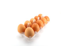 Eggs packed on white background. Eggs packed isolated white background Stock Photo