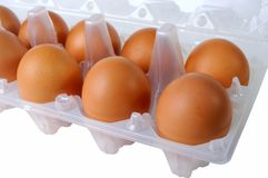 Eggs in packing closeup Royalty Free Stock Photo