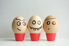 Eggs with painted face. The concept. Of conversation and gossip. Funny face photo for your design royalty free stock photo