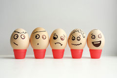 Eggs with painted face. Concept of meeting. And business conversations. Funny face photo for your design royalty free stock photo