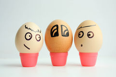 Eggs with painted face. The concept. Is non-existent like everything. Photo for your design stock photos