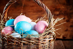 Eggs Painted with Peas in the Basket Stock Photos