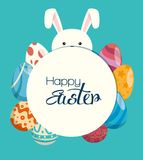 Eggs painted and rabbit easter celebration. Vector illustration design Stock Photo
