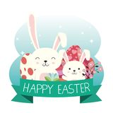 Eggs painted and rabbit easter celebration. Vector illustration design Stock Photos