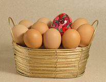 Eggs and painting. The eggs are in the basket. One of them is painted. Individualism; leading Stock Photography