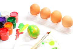 Eggs and paints Royalty Free Stock Images