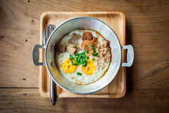 Eggs pan breakfast. Royalty Free Stock Photography